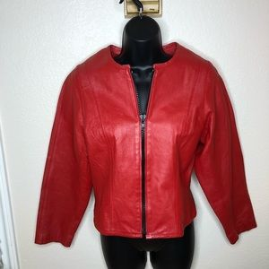 Womens vintage Red leather jacket coat Zip coat